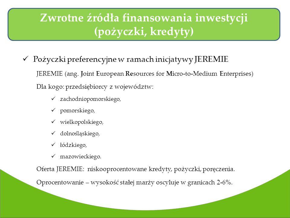 Pożyczki preferencyjne w ramach inicjatywy JEREMIE JEREMIE (ang.