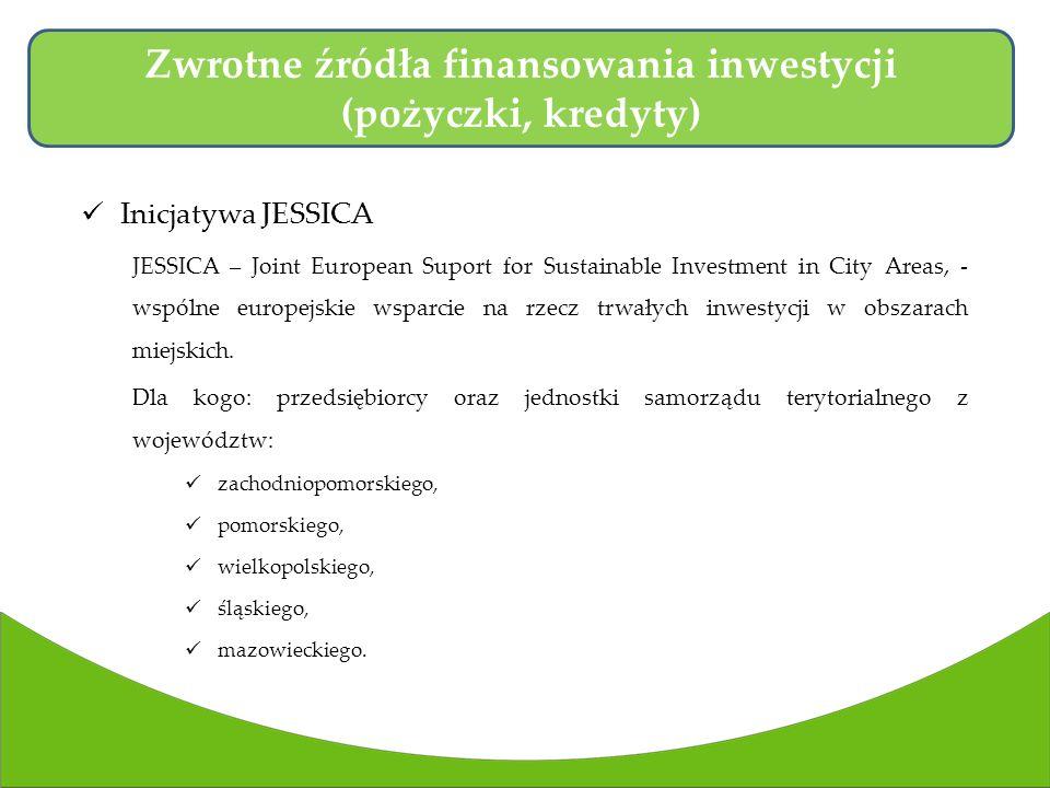 Inicjatywa JESSICA JESSICA – Joint European Suport for Sustainable Investment in City Areas, - wspólne europejskie wsparcie na rzecz trwałych inwestycji w obszarach miejskich.