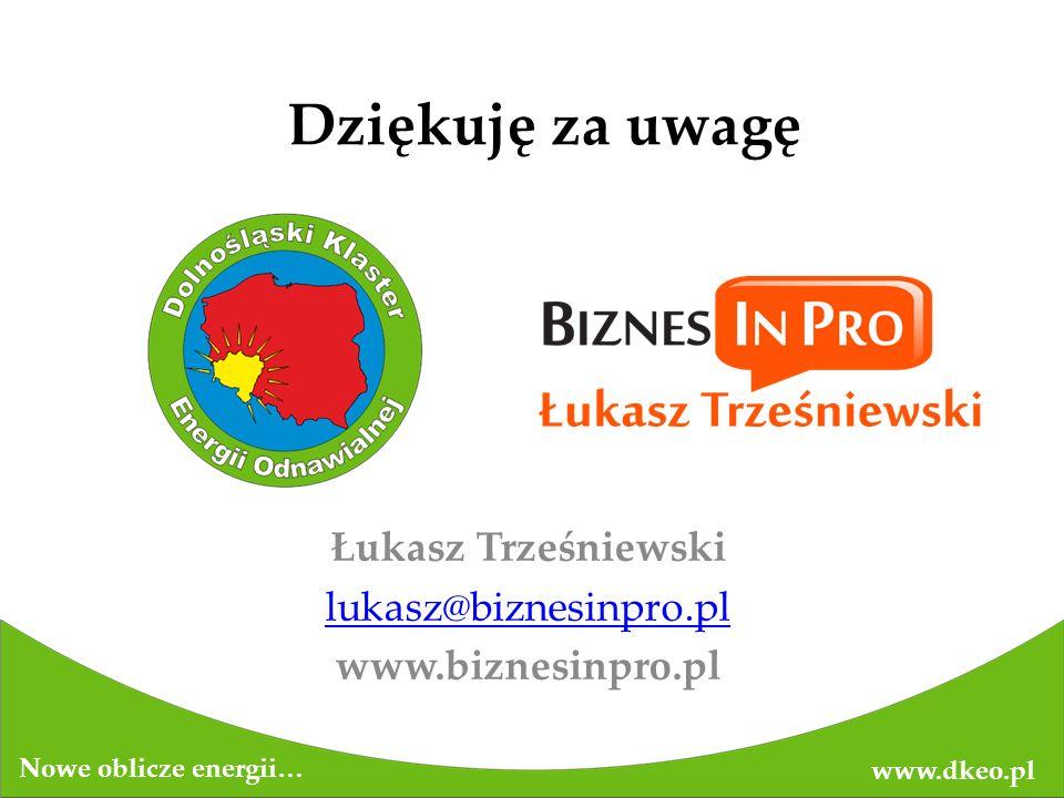Dziękuję za uwagę www.dkeo.pl Nowe oblicze energii… Łukasz Trześniewski lukasz@biznesinpro.pl www.biznesinpro.pl