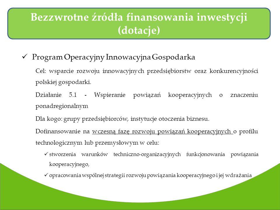 Program Operacyjny Innowacyjna Gospodarka Cel: wsparcie rozwoju innowacyjnych przedsiębiorstw oraz konkurencyjności polskiej gospodarki.