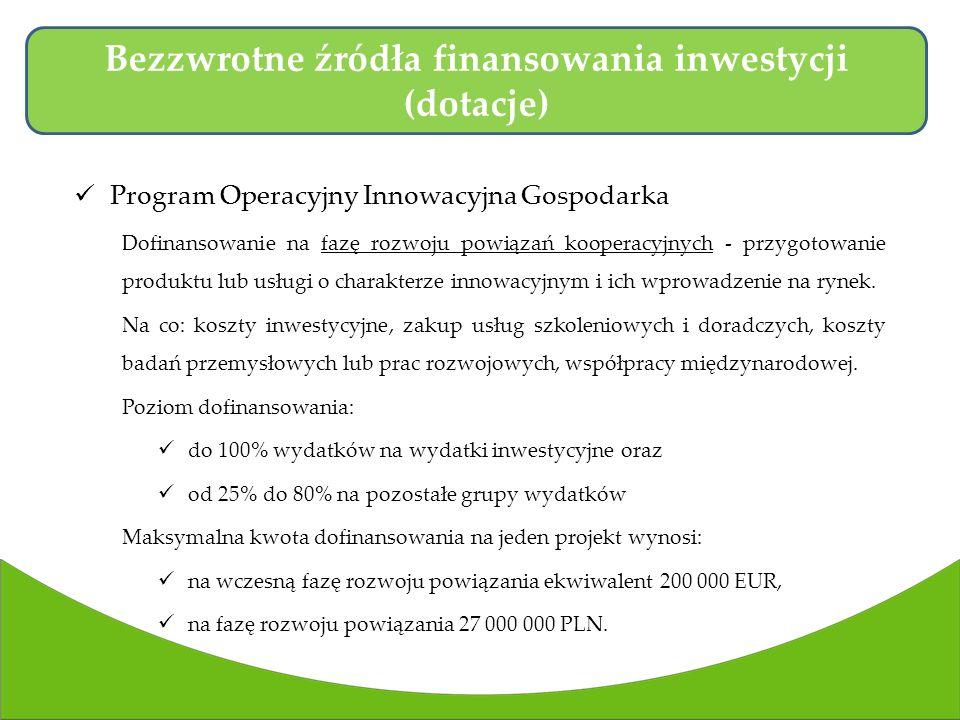 Program Operacyjny Innowacyjna Gospodarka Dofinansowanie na fazę rozwoju powiązań kooperacyjnych - przygotowanie produktu lub usługi o charakterze innowacyjnym i ich wprowadzenie na rynek.