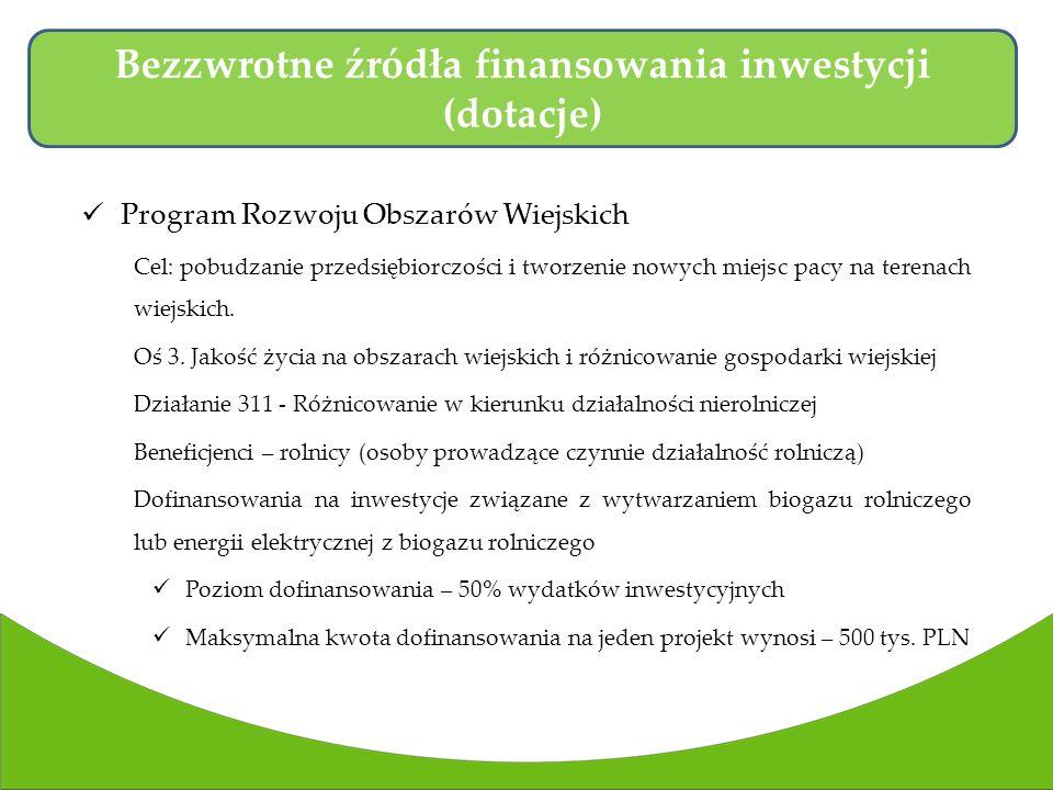 Program Rozwoju Obszarów Wiejskich Cel: pobudzanie przedsiębiorczości i tworzenie nowych miejsc pacy na terenach wiejskich.
