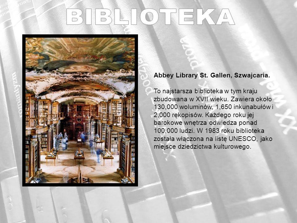 Abbey Library St. Gallen, Szwajcaria. To najstarsza biblioteka w tym kraju zbudowana w XVII wieku.