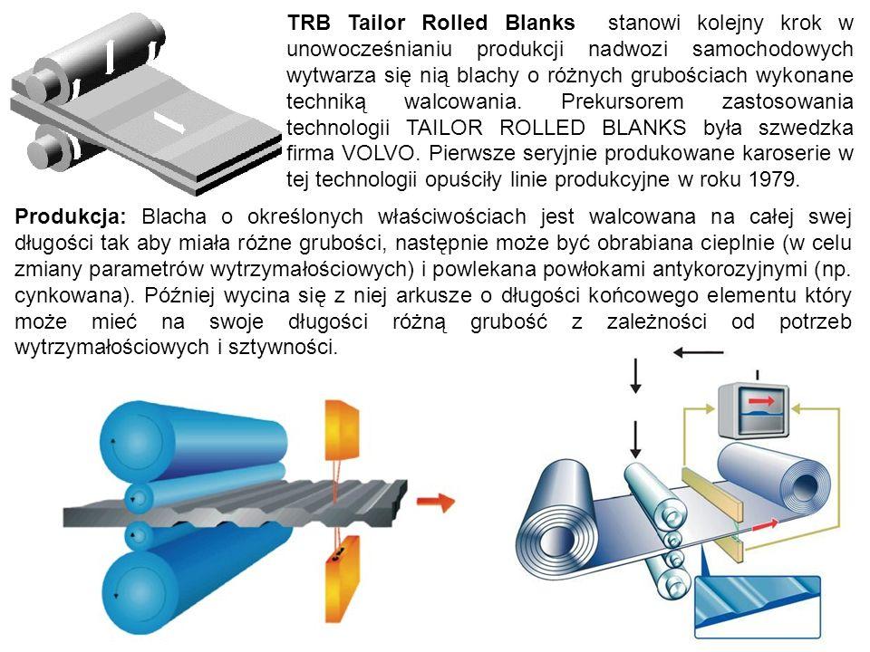 TRB Tailor Rolled Blanks stanowi kolejny krok w unowocześnianiu produkcji nadwozi samochodowych wytwarza się nią blachy o różnych grubościach wykonane