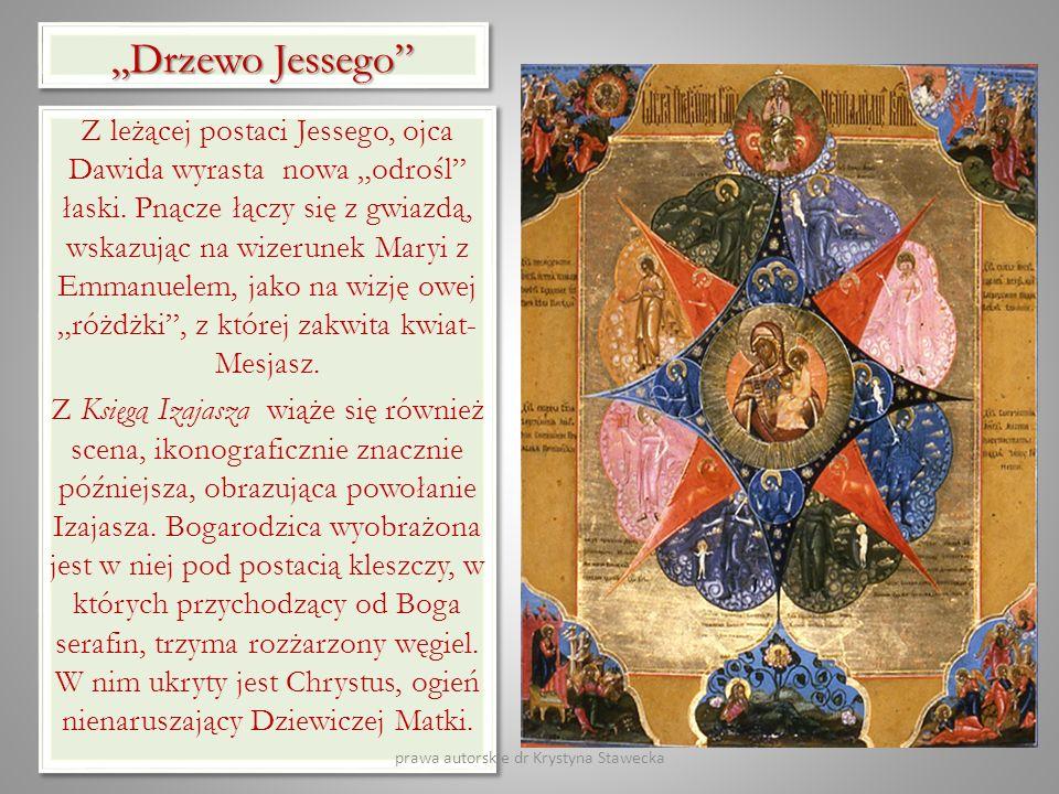 Drzewo Jessego Z leżącej postaci Jessego, ojca Dawida wyrasta nowa odrośl łaski. Pnącze łączy się z gwiazdą, wskazując na wizerunek Maryi z Emmanuelem