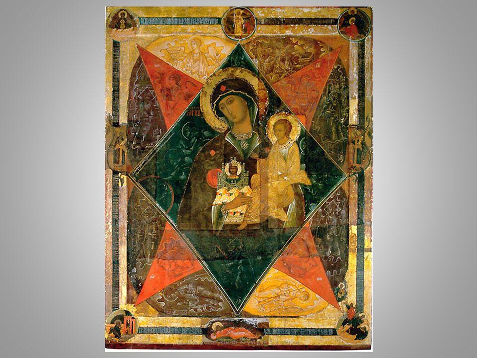 Anielska tęcza - jako wizja apokaliptyczna: -tron w otoczeniu tęczy, który afirmują aniołowie pod postacią czterech Zwierząt – symbole Ewangelistów, - błyskawice, głosy i gromy towarzyszące objawieniu.