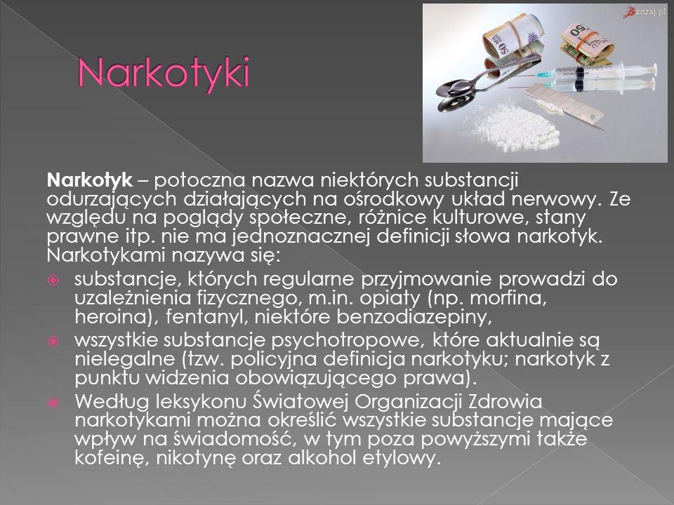 Narkotyk – potoczna nazwa niektórych substancji odurzających działających na ośrodkowy układ nerwowy. Ze względu na poglądy społeczne, różnice kulturo