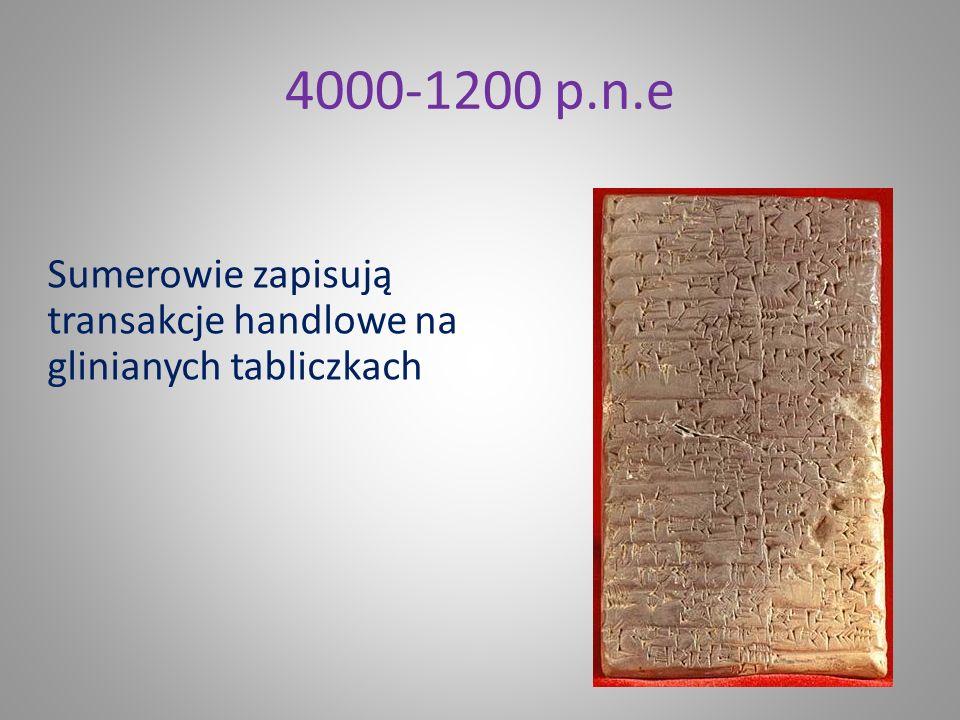 4000-1200 p.n.e Sumerowie zapisują transakcje handlowe na glinianych tabliczkach