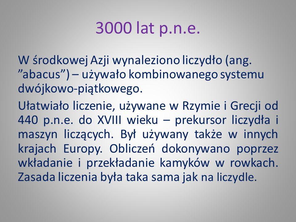 3000 lat p.n.e.W środkowej Azji wynaleziono liczydło (ang.