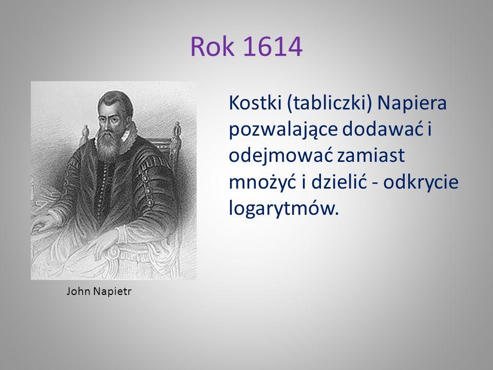 Rok 1614 Kostki (tabliczki) Napiera pozwalające dodawać i odejmować zamiast mnożyć i dzielić - odkrycie logarytmów.