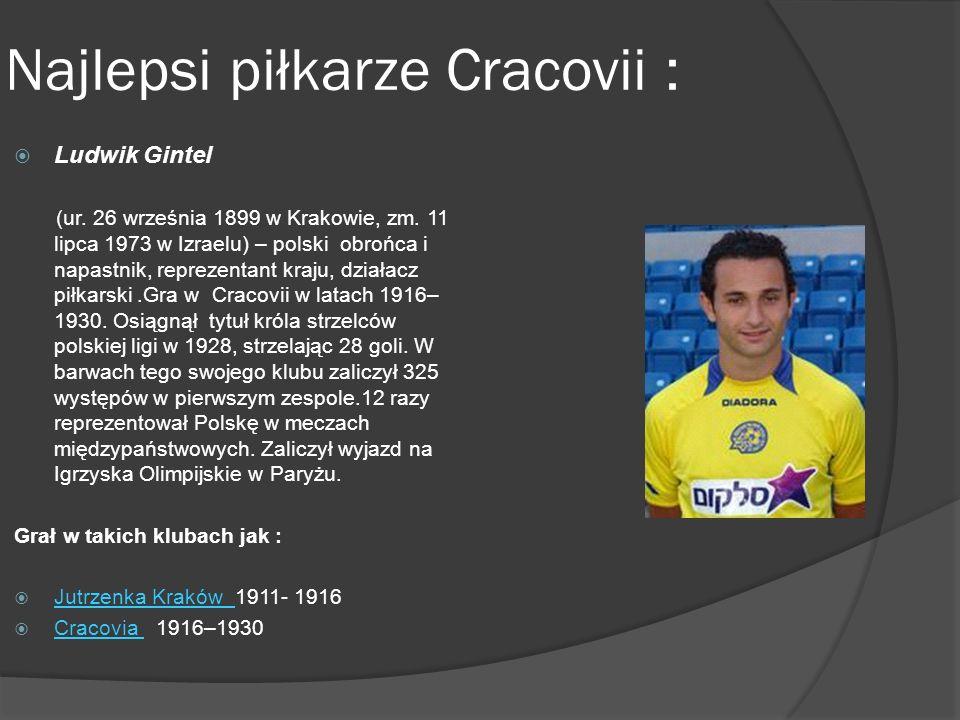 Najlepsi piłkarze Cracovii : Ludwik Gintel (ur.26 września 1899 w Krakowie, zm.
