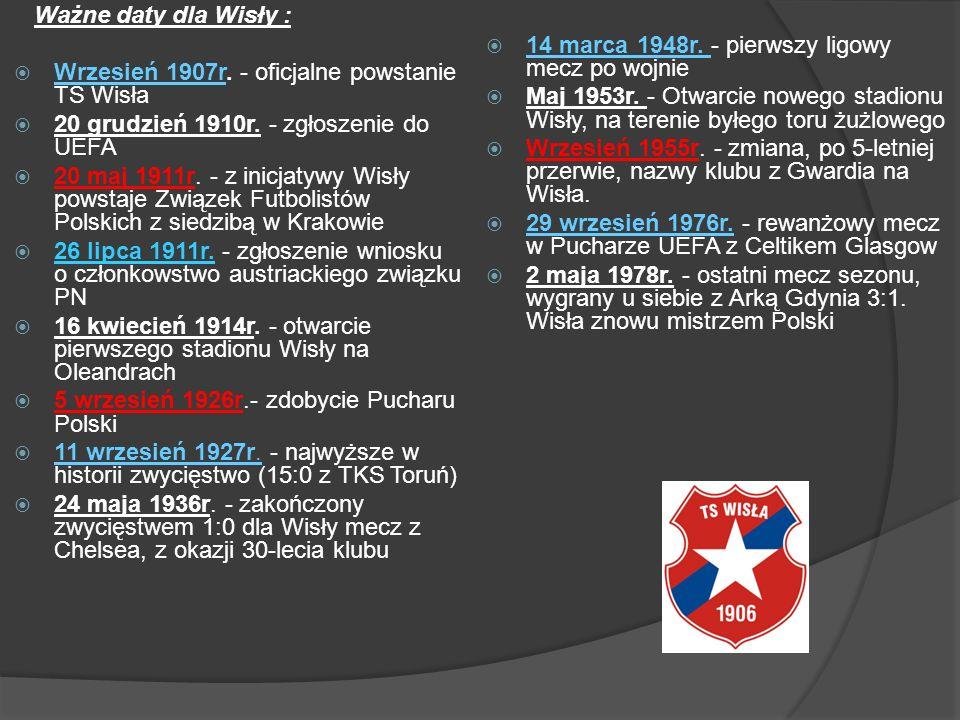 Ważne daty dla Wisły : Wrzesień 1907r. - oficjalne powstanie TS Wisła 20 grudzień 1910r. - zgłoszenie do UEFA 20 maj 1911r. - z inicjatywy Wisły powst