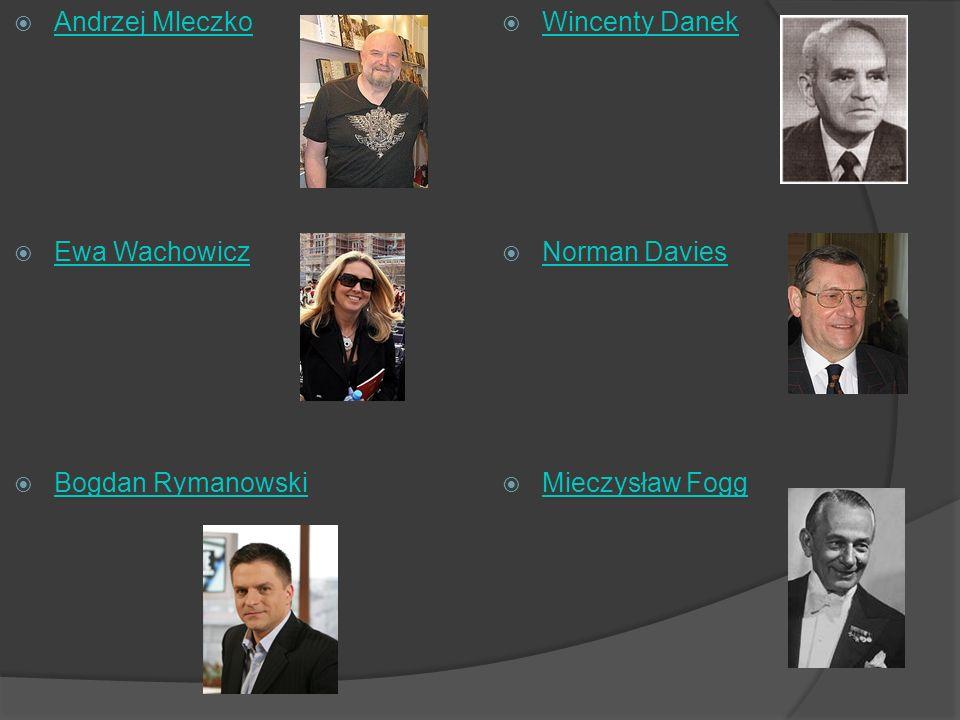 Andrzej Mleczko Ewa Wachowicz Bogdan Rymanowski Wincenty Danek Norman Davies Mieczysław Fogg