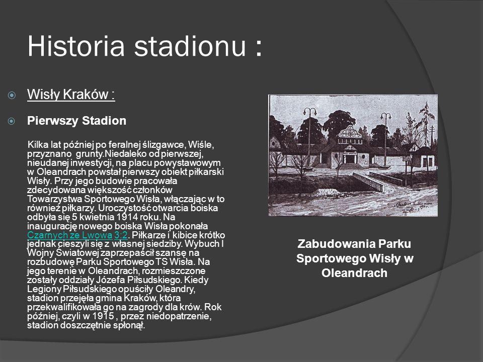 Historia stadionu : Wisły Kraków : Pierwszy Stadion Kilka lat później po feralnej ślizgawce, Wiśle, przyznano grunty.Niedaleko od pierwszej, nieudanej