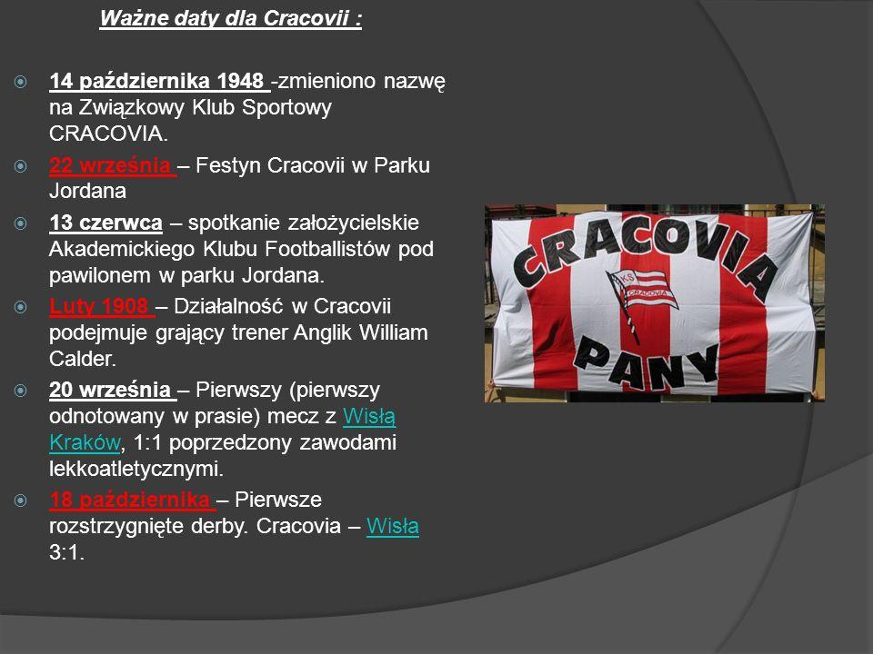 Ważne daty dla Cracovii : 14 października 1948 -zmieniono nazwę na Związkowy Klub Sportowy CRACOVIA. 22 września – Festyn Cracovii w Parku Jordana 13
