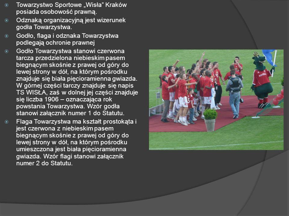Towarzystwo Sportowe Wisła Kraków posiada osobowość prawną. Odznaką organizacyjną jest wizerunek godła Towarzystwa. Godło, flaga i odznaka Towarzystwa