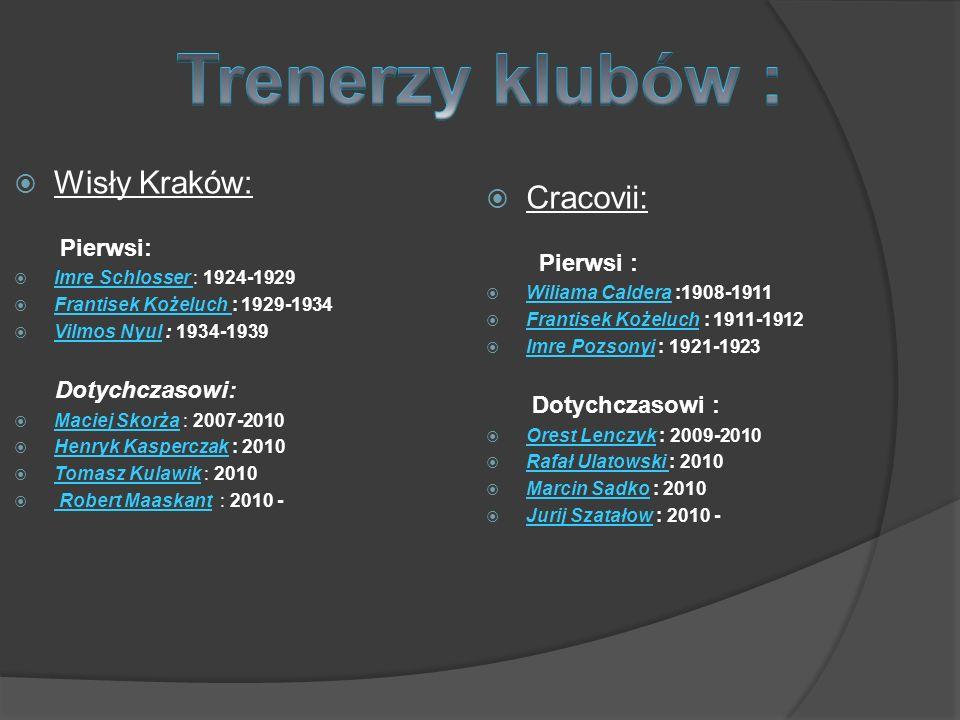 Wisły Kraków: Pierwsi: Imre Schlosser : 1924-1929 Frantisek Kożeluch : 1929-1934 Vilmos Nyul : 1934-1939 Dotychczasowi: Maciej Skorża : 2007-2010 Henr