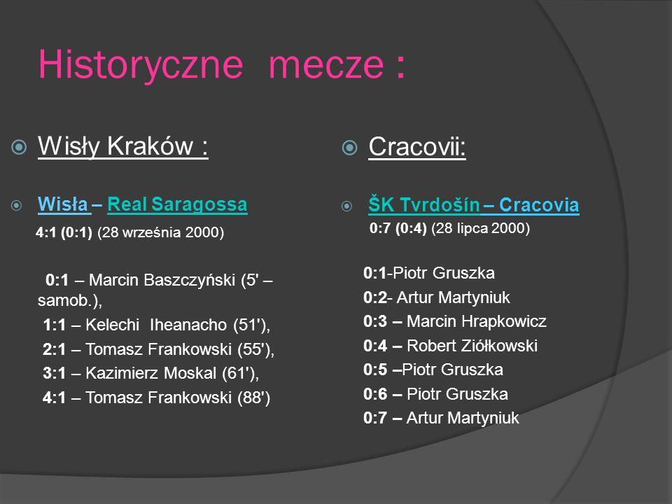 Historyczne mecze : Wisły Kraków : Wisła – Real SaragossaReal Saragossa 4:1 (0:1) (28 września 2000) 0:1 – Marcin Baszczyński (5 – samob.), 1:1 – Kelechi Iheanacho (51 ), 2:1 – Tomasz Frankowski (55 ), 3:1 – Kazimierz Moskal (61 ), 4:1 – Tomasz Frankowski (88 ) Cracovii: ŠK Tvrdošín – Cracovia ŠK Tvrdošín 0:7 (0:4) (28 lipca 2000) 0:1-Piotr Gruszka 0:2- Artur Martyniuk 0:3 – Marcin Hrapkowicz 0:4 – Robert Ziółkowski 0:5 –Piotr Gruszka 0:6 – Piotr Gruszka 0:7 – Artur Martyniuk