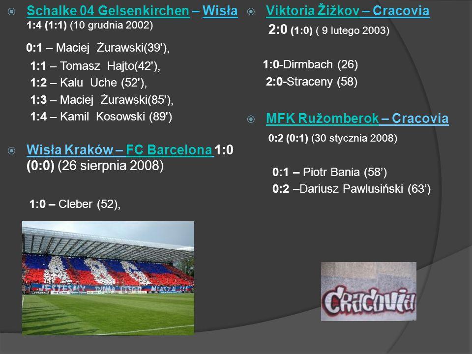 Schalke 04 Gelsenkirchen – Wisła 1:4 (1:1) (10 grudnia 2002) Schalke 04 Gelsenkirchen 0:1 – Maciej Żurawski(39 ), 1:1 – Tomasz Hajto(42 ), 1:2 – Kalu Uche (52 ), 1:3 – Maciej Żurawski(85 ), 1:4 – Kamil Kosowski (89 ) Wisła Kraków – FC Barcelona 1:0 (0:0) (26 sierpnia 2008)FC Barcelona 1:0 – Cleber (52), Viktoria Žižkov – Cracovia Viktoria Žižkov 2:0 (1:0) ( 9 lutego 2003) 1:0-Dirmbach (26) 2:0-Straceny (58) MFK Ružomberok – Cracovia MFK Ružomberok 0:2 (0:1) (30 stycznia 2008) 0:1 – Piotr Bania (58) 0:2 –Dariusz Pawlusiński (63)