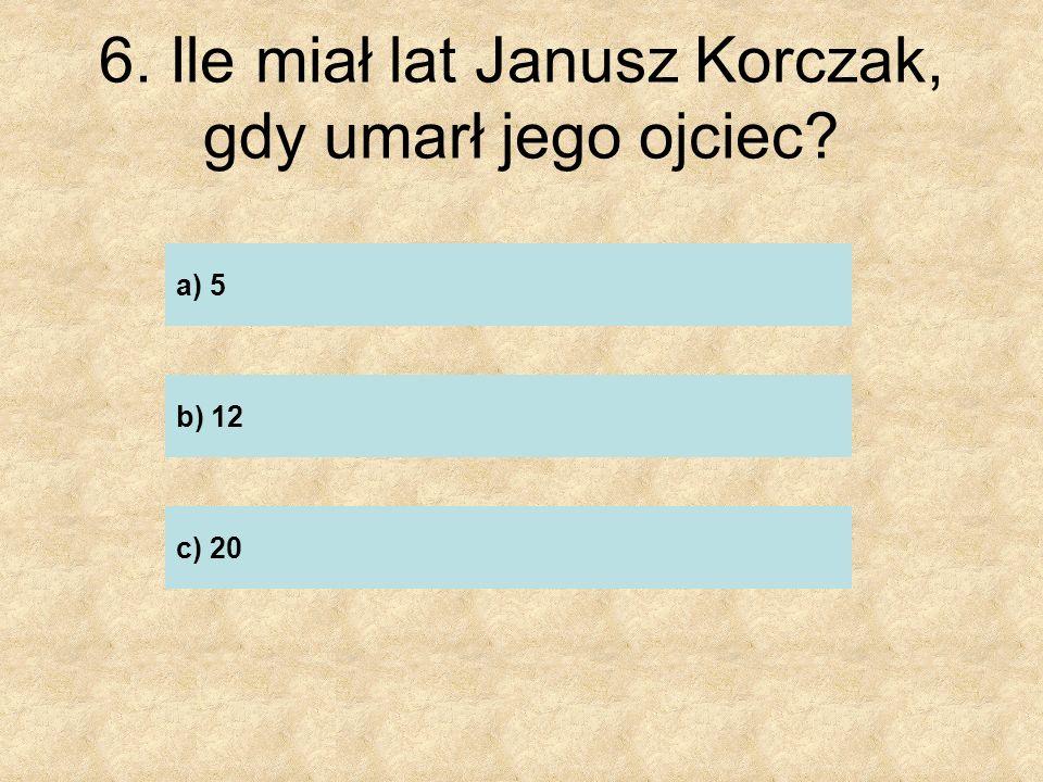 7. W jaki sposób Janusz Korczak pomagał rodzinie po śmierci jego ojca? …………………………………………………….