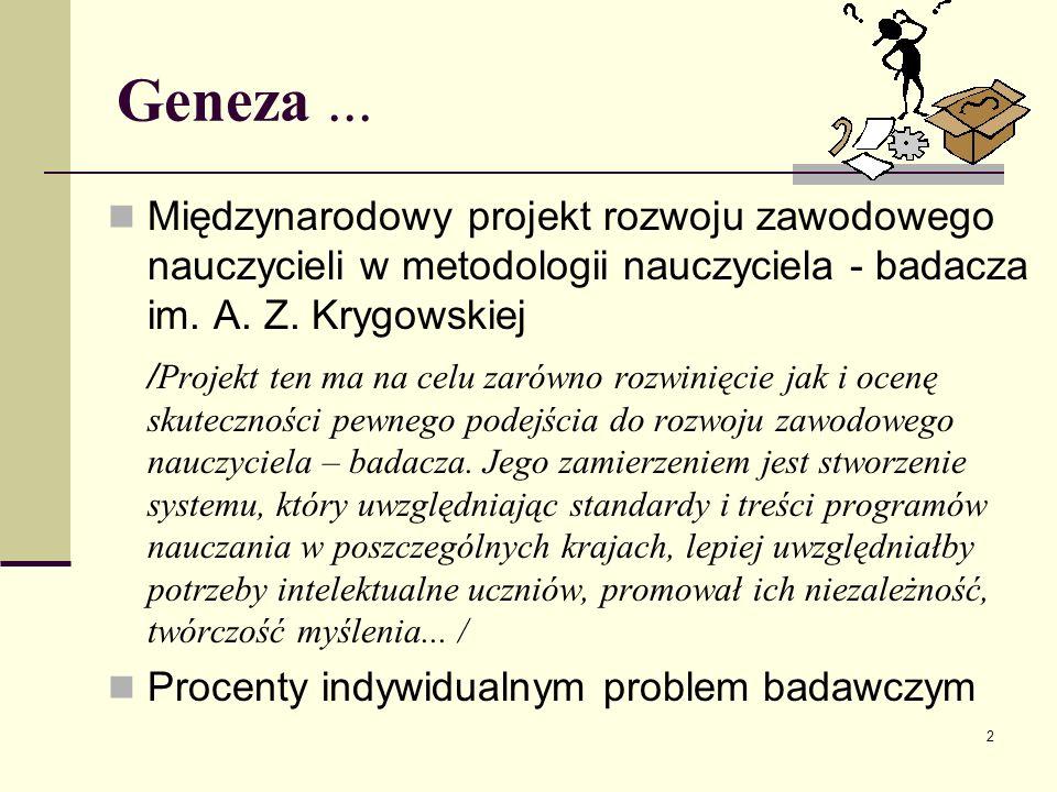 2 Geneza... Międzynarodowy projekt rozwoju zawodowego nauczycieli w metodologii nauczyciela - badacza im. A. Z. Krygowskiej / Projekt ten ma na celu z