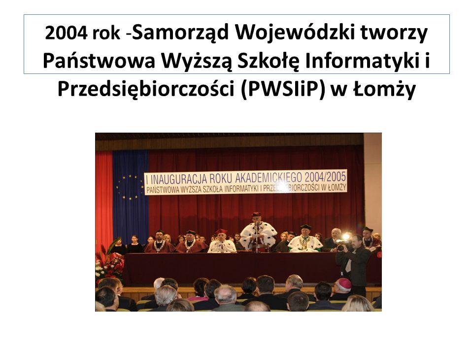 2004 rok - Samorząd Wojewódzki tworzy Państwowa Wyższą Szkołę Informatyki i Przedsiębiorczości (PWSIiP) w Łomży
