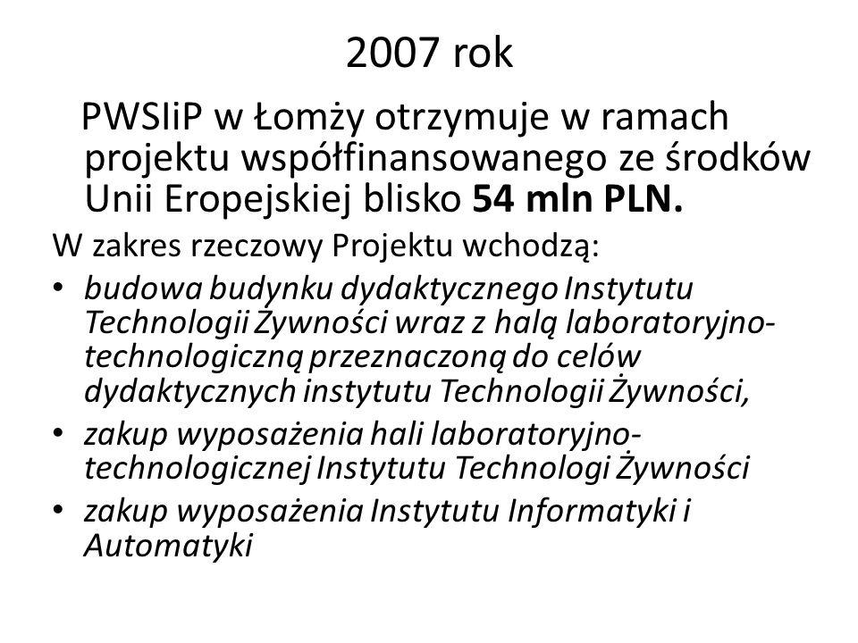 2007 rok PWSIiP w Łomży otrzymuje w ramach projektu współfinansowanego ze środków Unii Eropejskiej blisko 54 mln PLN. W zakres rzeczowy Projektu wchod