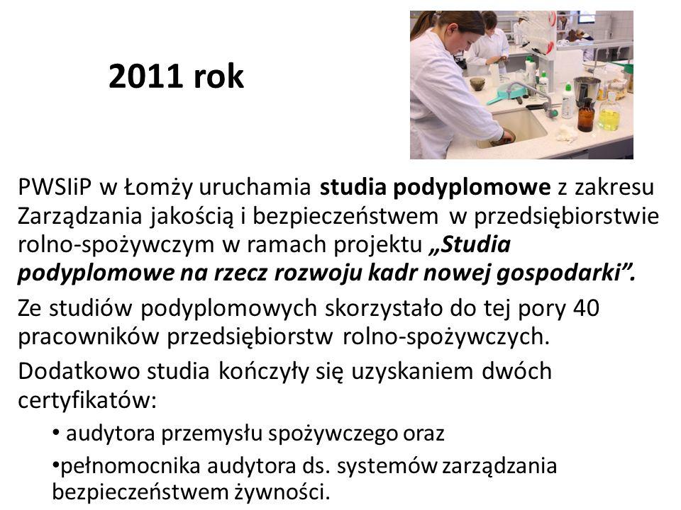 2011 rok PWSIiP w Łomży uruchamia studia podyplomowe z zakresu Zarządzania jakością i bezpieczeństwem w przedsiębiorstwie rolno-spożywczym w ramach pr