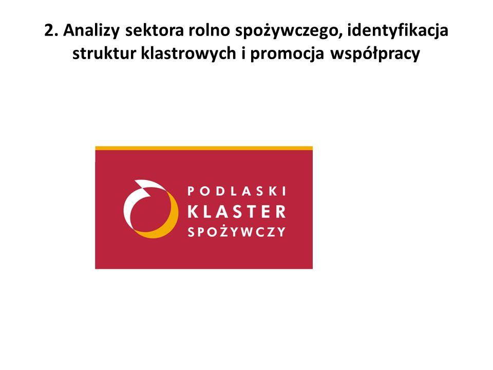 2. Analizy sektora rolno spożywczego, identyfikacja struktur klastrowych i promocja współpracy