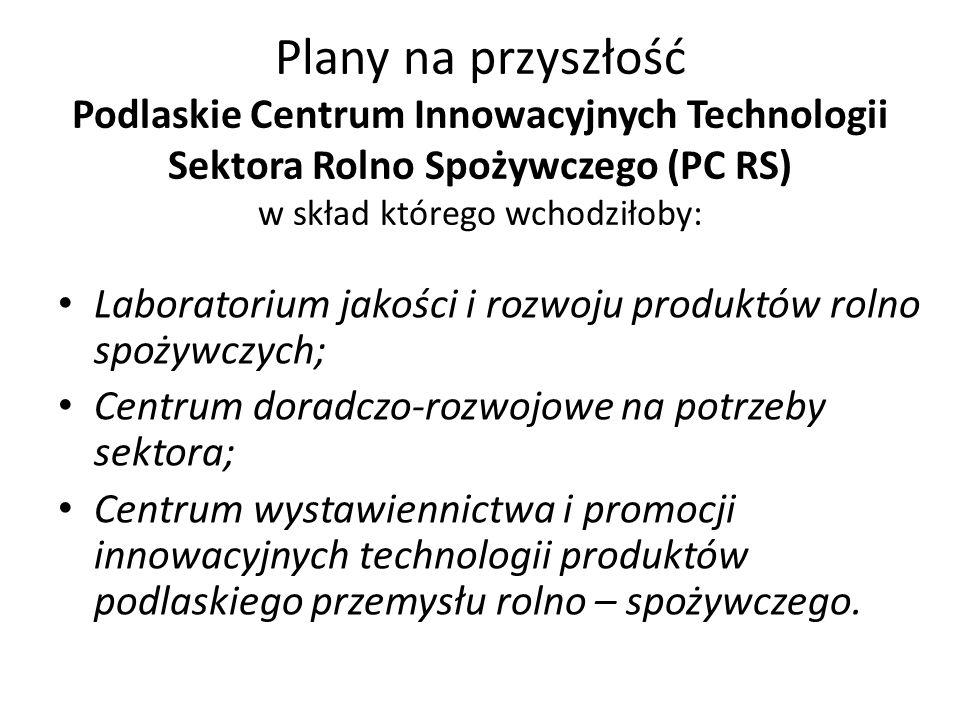Plany na przyszłość Podlaskie Centrum Innowacyjnych Technologii Sektora Rolno Spożywczego (PC RS) w skład którego wchodziłoby: Laboratorium jakości i