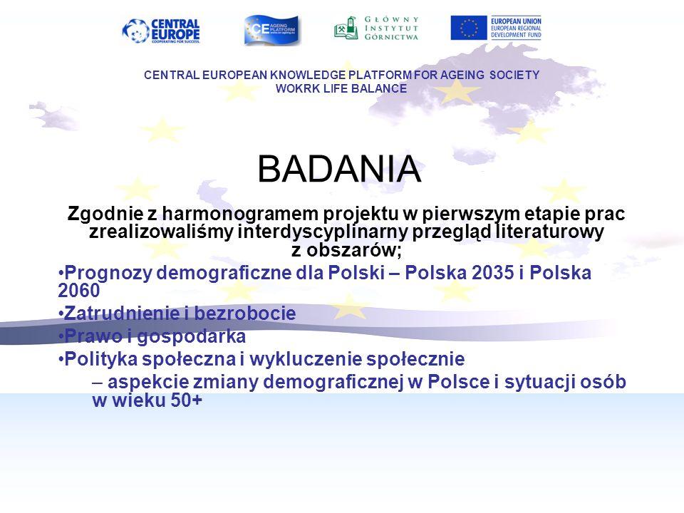 BADANIA Zgodnie z harmonogramem projektu w pierwszym etapie prac zrealizowaliśmy interdyscyplinarny przegląd literaturowy z obszarów; Prognozy demograficzne dla Polski – Polska 2035 i Polska 2060 Zatrudnienie i bezrobocie Prawo i gospodarka Polityka społeczna i wykluczenie społecznie – aspekcie zmiany demograficznej w Polsce i sytuacji osób w wieku 50+ CENTRAL EUROPEAN KNOWLEDGE PLATFORM FOR AGEING SOCIETY WOKRK LIFE BALANCE