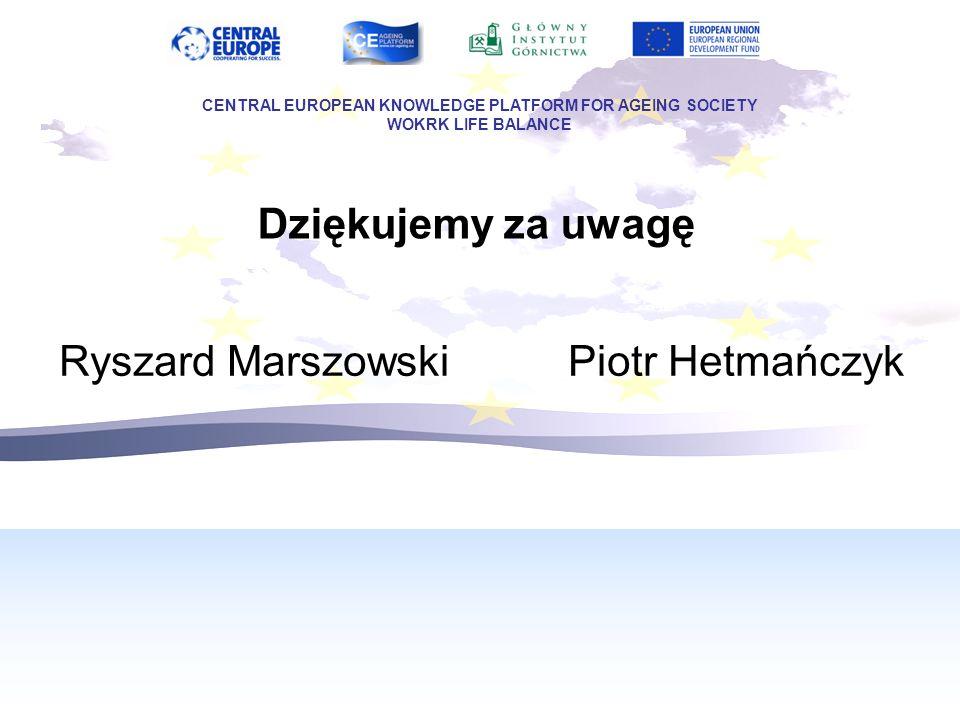 Dziękujemy za uwagę CENTRAL EUROPEAN KNOWLEDGE PLATFORM FOR AGEING SOCIETY WOKRK LIFE BALANCE Ryszard Marszowski Piotr Hetmańczyk