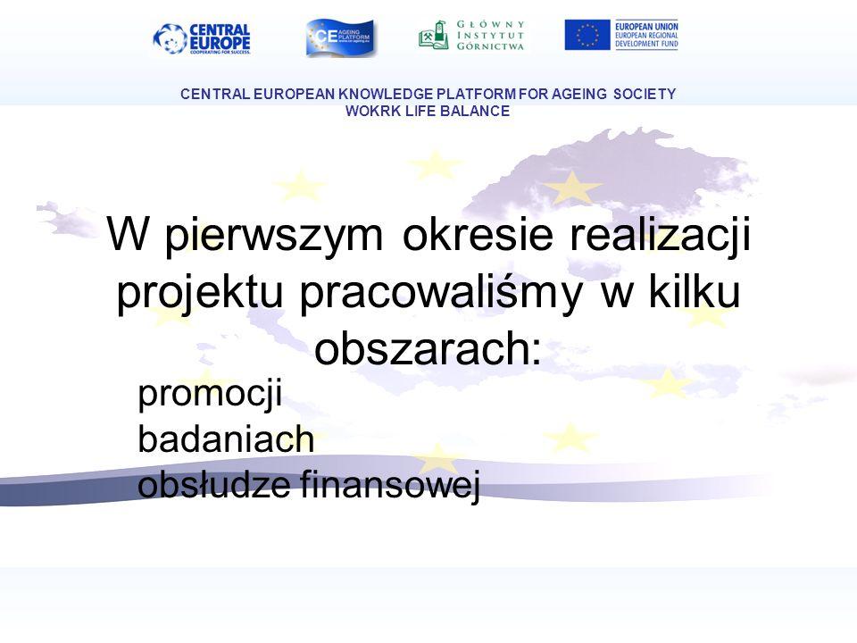 W pierwszym okresie realizacji projektu pracowaliśmy w kilku obszarach: promocji badaniach obsłudze finansowej CENTRAL EUROPEAN KNOWLEDGE PLATFORM FOR AGEING SOCIETY WOKRK LIFE BALANCE