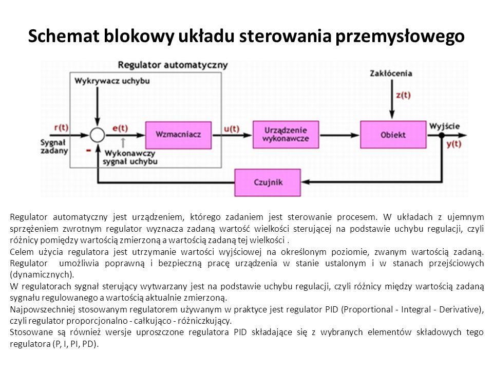 Schemat blokowy układu sterowania przemysłowego Regulator automatyczny jest urządzeniem, którego zadaniem jest sterowanie procesem.