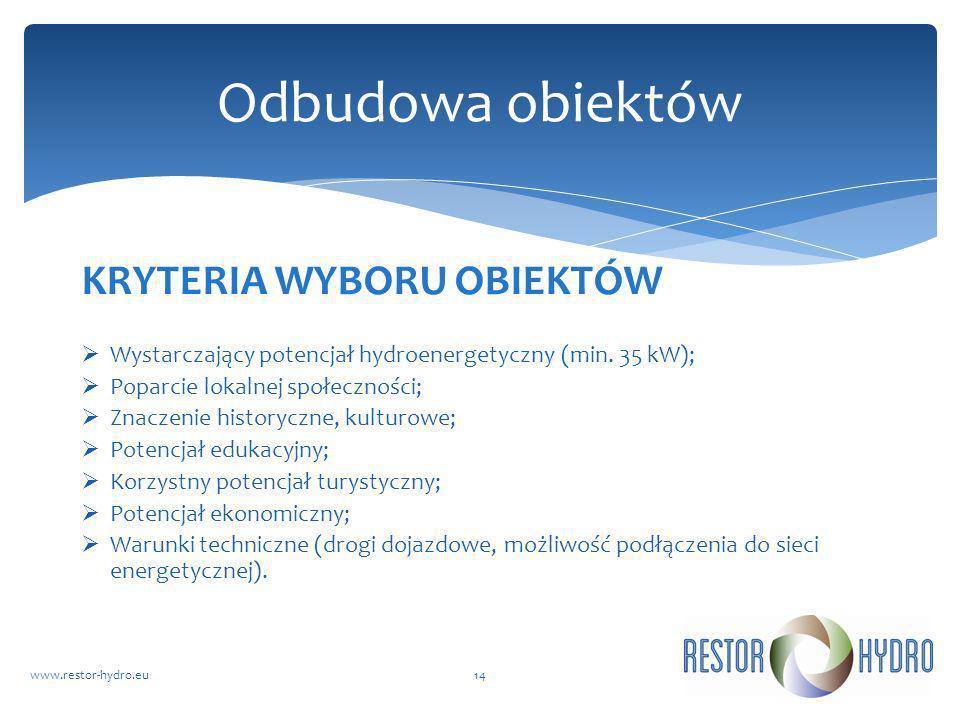 KRYTERIA WYBORU OBIEKTÓW Wystarczający potencjał hydroenergetyczny (min. 35 kW); Poparcie lokalnej społeczności; Znaczenie historyczne, kulturowe; Pot