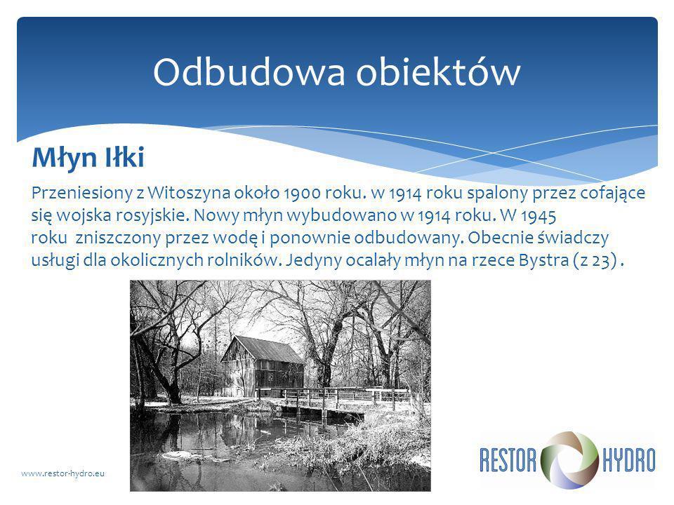 Przeniesiony z Witoszyna około 1900 roku. w 1914 roku spalony przez cofające się wojska rosyjskie. Nowy młyn wybudowano w 1914 roku. W 1945 roku znisz