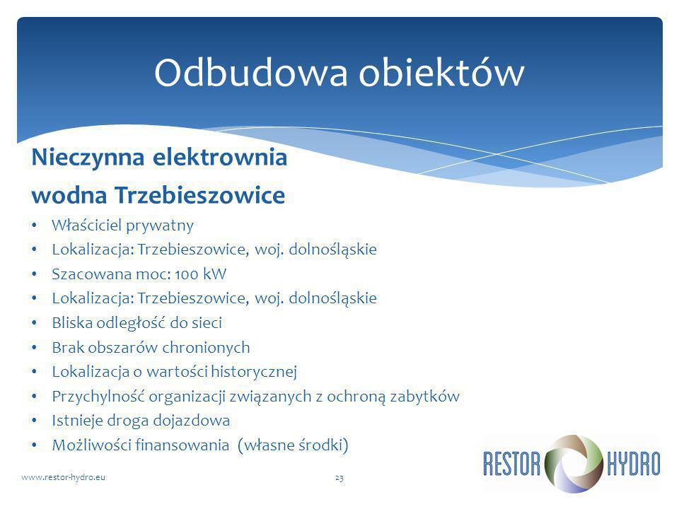 Nieczynna elektrownia wodna Trzebieszowice Właściciel prywatny Lokalizacja: Trzebieszowice, woj. dolnośląskie Szacowana moc: 100 kW Lokalizacja: Trzeb