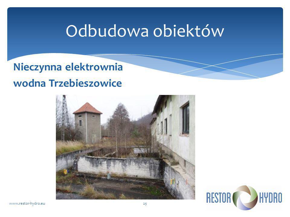 Nieczynna elektrownia wodna Trzebieszowice www.restor-hydro.eu25 Odbudowa obiektów