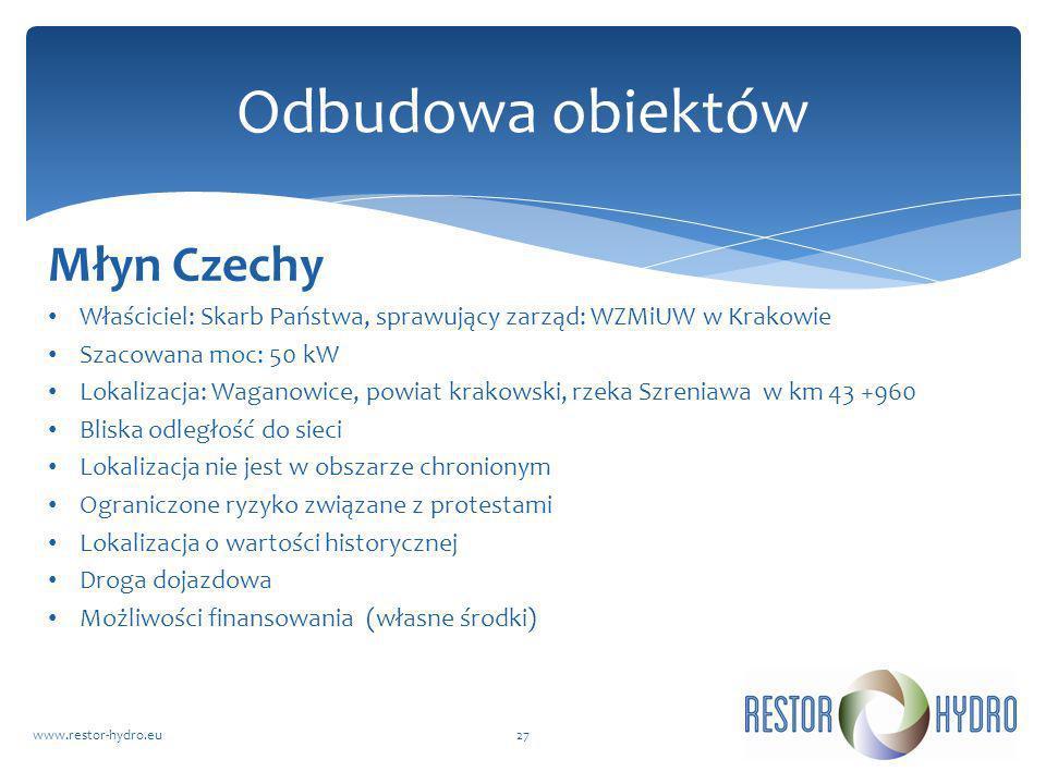 Młyn Czechy Właściciel: Skarb Państwa, sprawujący zarząd: WZMiUW w Krakowie Szacowana moc: 50 kW Lokalizacja: Waganowice, powiat krakowski, rzeka Szre