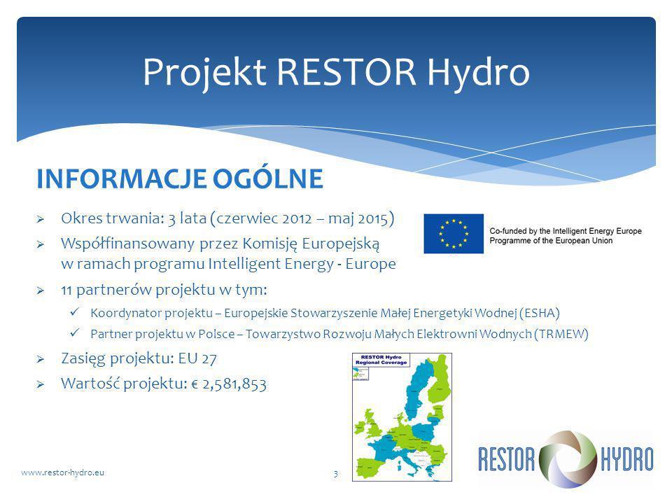 RESTOR Hydrowww.restor-hydro.eu3 Projekt RESTOR Hydro INFORMACJE OGÓLNE Okres trwania: 3 lata (czerwiec 2012 – maj 2015) Współfinansowany przez Komisj