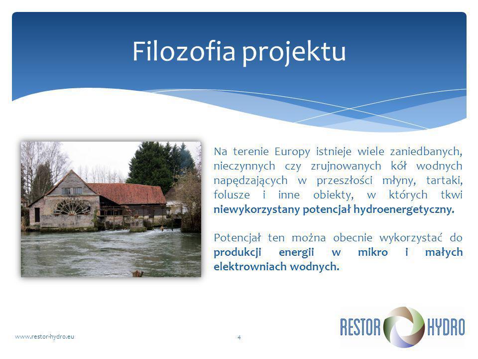 RESTOR Hydrowww.restor-hydro.eu4 Filozofia projektu Na terenie Europy istnieje wiele zaniedbanych, nieczynnych czy zrujnowanych kół wodnych napędzając