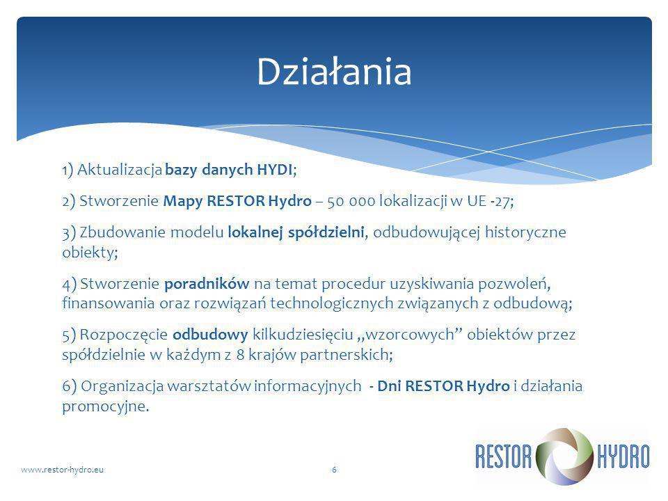 RESTOR Hydrowww.restor-hydro.eu6 Działania 1) Aktualizacja bazy danych HYDI; 2) Stworzenie Mapy RESTOR Hydro – 50 000 lokalizacji w UE -27; 3) Zbudowa