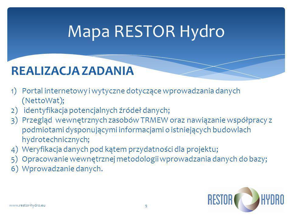 RESTOR Hydrowww.restor-hydro.eu9 Mapa RESTOR Hydro 1)Portal internetowy i wytyczne dotyczące wprowadzania danych (NettoWat); 2) identyfikacja potencja