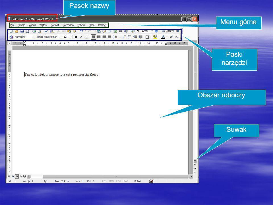 Suwaki umożliwiają przesuwanie dokumentu, który nie jest w całości widoczny na ekranie.