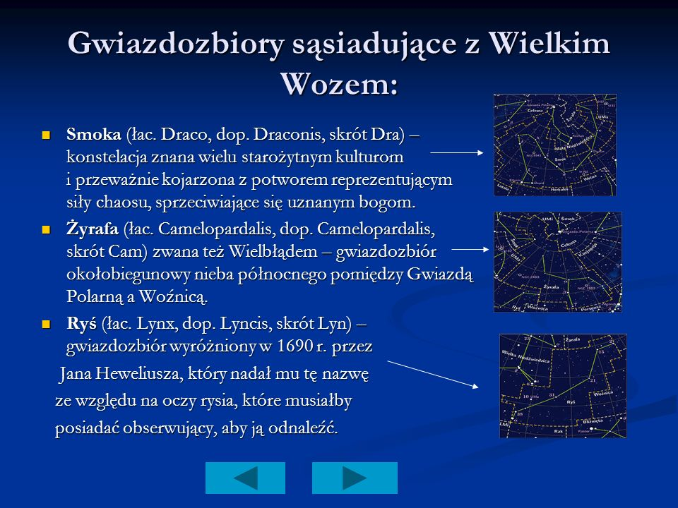 Gwiazdozbiory sąsiadujące z Wielkim Wozem: Smoka (łac. Draco, dop. Draconis, skrót Dra) – konstelacja znana wielu starożytnym kulturom i przeważnie ko