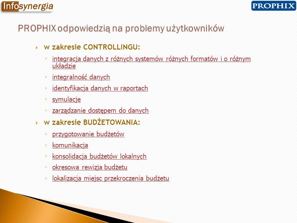 w zakresie CONTROLLINGU: integracja danych z różnych systemów różnych formatów i o różnym układzie integracja danych z różnych systemów różnych format