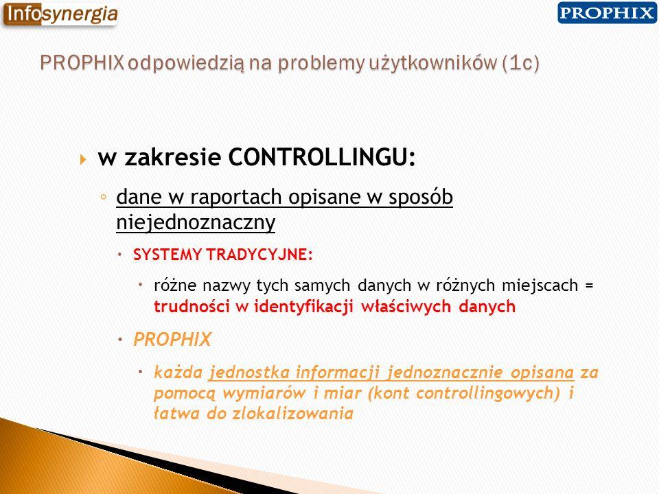 w zakresie CONTROLLINGU: dane w raportach opisane w sposób niejednoznaczny SYSTEMY TRADYCYJNE: różne nazwy tych samych danych w różnych miejscach = tr