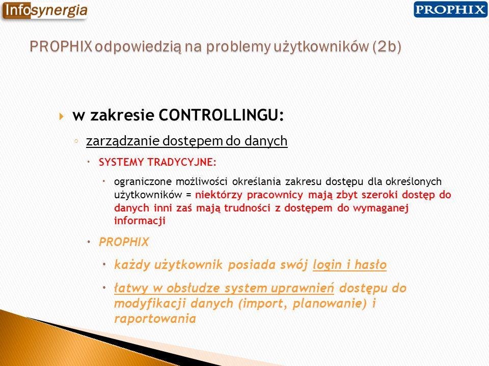 w zakresie CONTROLLINGU: zarządzanie dostępem do danych SYSTEMY TRADYCYJNE: ograniczone możliwości określania zakresu dostępu dla określonych użytkown