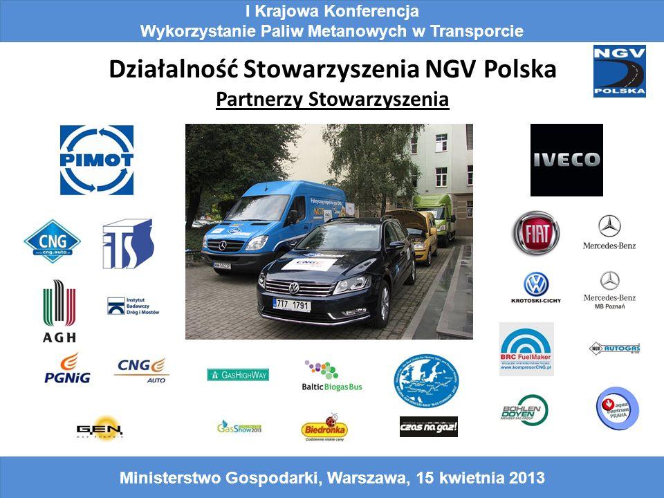 Działalność Stowarzyszenia NGV Polska Partnerzy Stowarzyszenia I Krajowa Konferencja Wykorzystanie Paliw Metanowych w Transporcie Ministerstwo Gospoda
