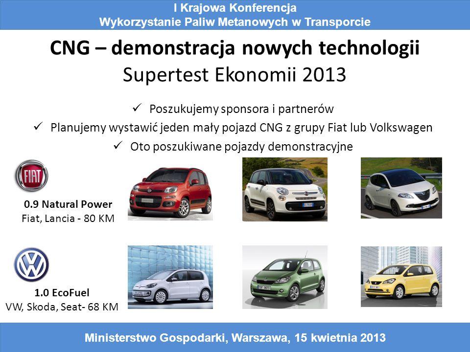 CNG – demonstracja nowych technologii Supertest Ekonomii 2013 I Krajowa Konferencja Wykorzystanie Paliw Metanowych w Transporcie Ministerstwo Gospodar